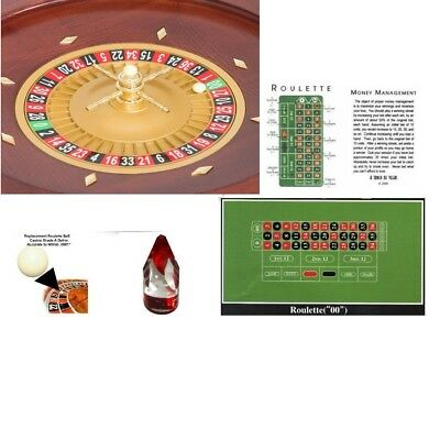 Roulette Wheel 20 Inch Satin Mahogany & Balls,Layout, Marker, etc - # 20-3020g1