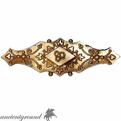 RARE , INTACT VICTORIAN 9c GOLD DECORATED BAR BROOCH WITH WHITE GOLD PIN 1900 AD