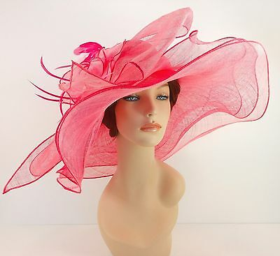 New Woman Church Derby Wedding Sinamay 3 Layers Dress Hat 3534 Pink / Baby Pink