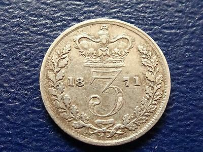 Queen Victoria Silver Threepence 1871 Nice Coin Rare Date Great Britain Uk