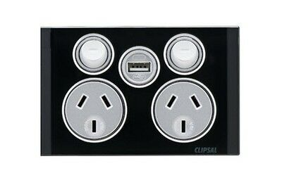 Clipsal Saturn Offer Double Power Point 4025USBC With USB Charger Express Black