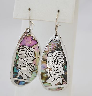 Fabulous Old Silver Mexican Earrings With Abalone Shell & Makers Marks