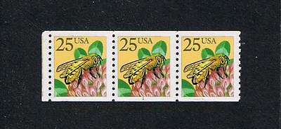 US 1988 Honeybee (2281f) Plate Number Strip of 3 No Serif #1 Postage Stamp