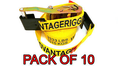 "Heavy Duty Ratchet Strap Tiedown 27'X2"" Flat Hook 10k Break Strength 10 Pack"