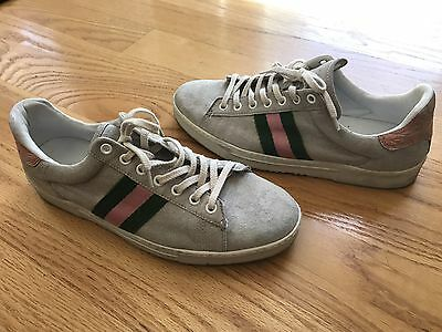 801d1bdc4 $1250 GUCCI Suede Sneakers Tennis Shoes Flats Size 8 Rare Tom Ford Era