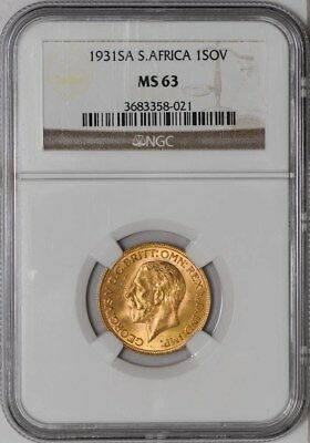 1931 South Africa Sovereign MS63 NGC