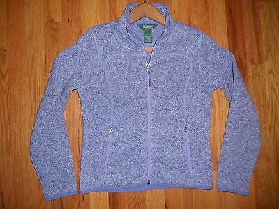 LL Bean Girls Youth Sz Medium 10-12 cool Violet Fleece full zip sweater jacket
