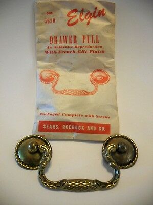 Vintage NOS Drop Bail Drawer Pull French Gilt Antique Brass & Plated Steel ELGIN