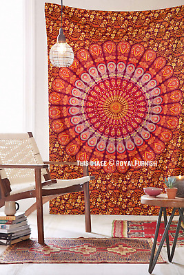 Indian Ombre Mandala Tapestry Wall Hanging Bedspread Throw Dorm Decor Silver