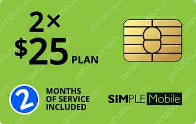 Simple Mobile Nano Sim Card Preloaded With 2 Months Of Service On The $25 Plan