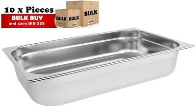 10PCS S/STEEL CONTAINER GN 1/1 GASTRONORM TRAY FOODGRADE 100mm DEEP