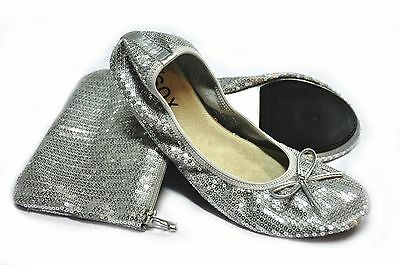 New Foldable / Silver Sequined Ballet flats with bag. M - Size 7-8