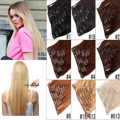 7Pcs Clip In Long Straight Thicken Remy Human Hair Extensions Full Head 7 Colors