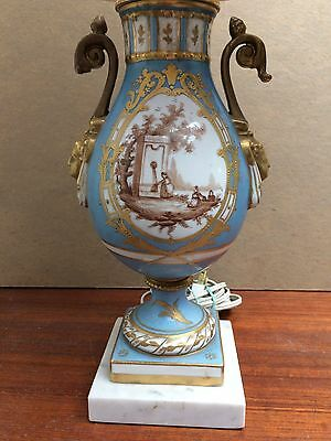 Sevre Paris Style French Porcelain Table Lamp Gold Gilt Hand Painted Scene