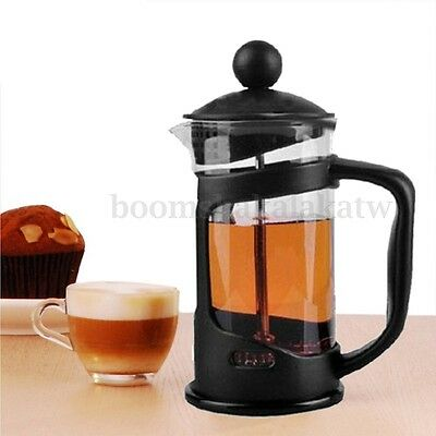 Portable 350ML Coffee Plunger Tea Maker French Press Stainless Filter Glass Cup