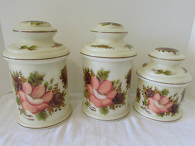 Vintage Set 3 Milk Glass Canisters with Lids 1940s Handpainted Roses Signed