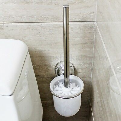 Bathroom Toilet Clean Brush Holder Set Chrome Frosted Glass Cup Wall Mounted