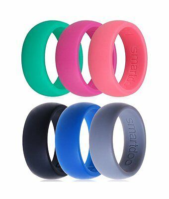Men Women 3PCS Flexible Workout Rubber Silicone Rings Wedding Lovers Band Ring