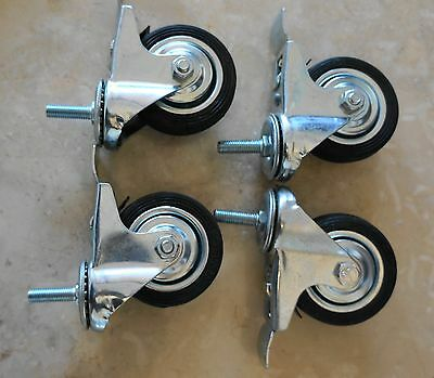 "3"" Castor Wheel (SET OF 4) 75mm Swivel on Bolt Threaded End  With Brake  Caster"