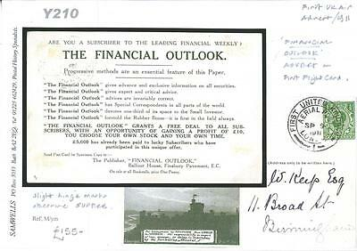 DBY210 1911 First UK Air 'The Financial Outlook' Advert PC/Birmingham
