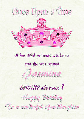 Personalised birthday card princess 1st 2nd 16th 21st daughter grandaughter