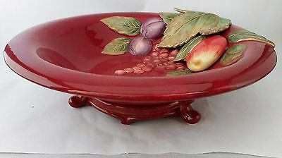 "Fitz & Floyd Renaissance 13 1/2"" Round Footed Serving Bowl Fruit Exc. Condition"