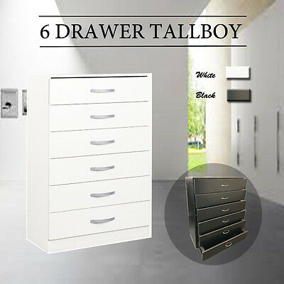 Tallboy Chest of 6 Level Drawers Dresser Clothes Storage Cabinet Bedroom