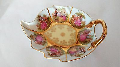 RARE! NC Western Germany Handpainted Love Story Leaf Shape Dish Relish / Mints