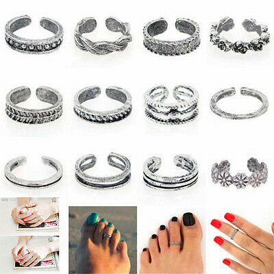 12Pcs Celebrity Jewelry Retro Silver Adjustable Open Toe Ring Finger Foot Gift H