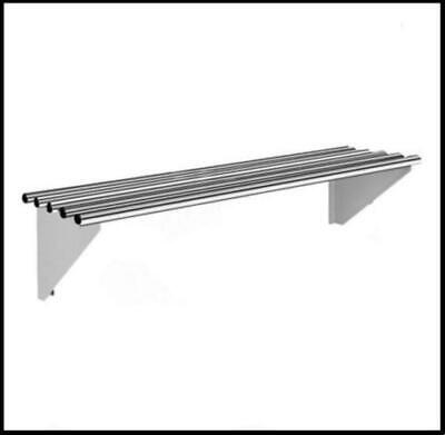 500x300 COMMERCIAL STAINLESS STEEL RND TUBE PIPE WALL MOUNTED SHELF DISPLAY E0