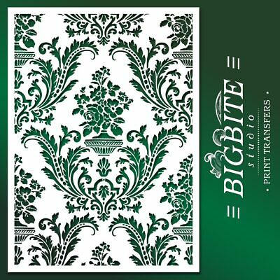 Shabby Chic Stencil: Damask Wallpaper Pattern Reusable, Easy DIY Home Decor #036