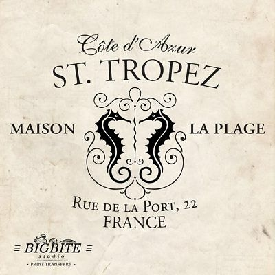 Water Decal Print Transfer – Vintage French Advert: St Tropez Holiday Resort #43