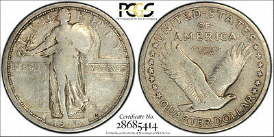 """1916 * PCGS F12 """"SECURE"""" * Silver STANDING LIBERTY Quarter Dollar 25c * The KING"""