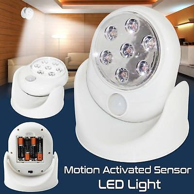 LED Motion Sensor Light Indoor Outdoor Garden Wall Patio Shed Battery Operated