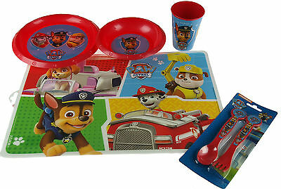 Red Paw Patrol  5 Piece Dinner Set - Place Mat, Plate, Cup, Cutlery, Bowl
