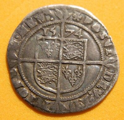 Tudor Period 1574 Elizabeth 1St Silver Sixpence Rose Beside Bust.(4)
