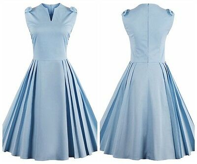 Women's Cap Sleeve 1950s Vintage Style Retro Evening Party Casual Swing Dress