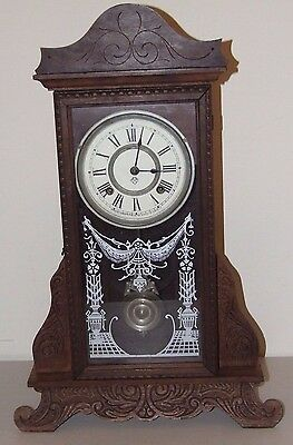Antique Working 19th C. ANSONIA Carved Oak Victorian Parlor Regulator Clock