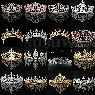 Zircon Crystal Tiara Wedding Bridal Party Princess Headband Crown Headpiece