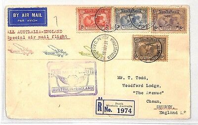 BH48 1931 AUSTRALIA Perth REGISTERED GB Special Air Mail Flight Cover