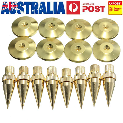 AU 8Pcs M6x36 Gold Copper Speaker Isolation Spike Foot Cone With Stand Base Pads