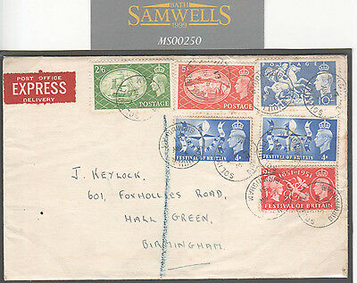 MS250 1951 GB HIGH VALUES *Festival of Britain* Combination FDC Birmingham Cover