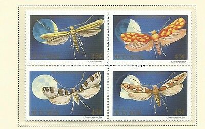 1990 Moths in a Block of 4 set of 4  Complete MUH/MNH as Issued