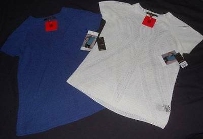 NWT LOT 2 Knit Yarn Tops Women's MEDIUM Solid Color Short Sleeve Delicate