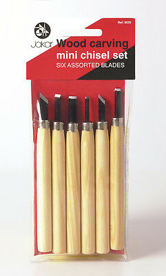 Mini Chisel Set  - Wood Carving Set of 6 assorted Blades