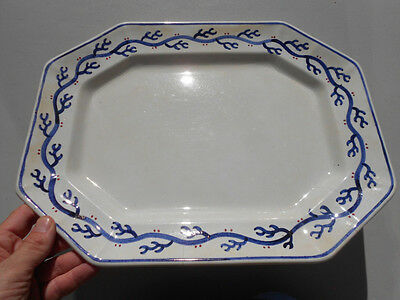 Old Antique 19th C White Ironstone Platter w Blue & Red Seaweed Border 15 3/4""