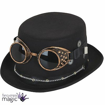 Black Steampunk Top Hat Victorian Gothic Goggles Fancy Dress Costume Accessory