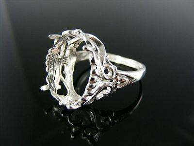 R99 Ring Setting Sterling Silver, Size 8.5, 18X13Mm Oval Faceted Stone