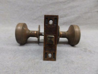 Antique Bronze Brass Door Knob Set Mortise Eastlake Old Vintage 509-17R