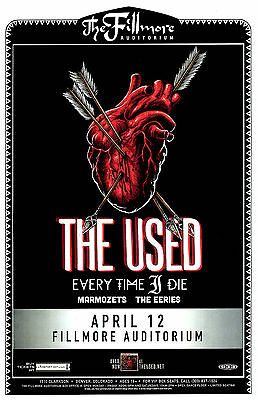 THE USED 2015 Live @ the Fillmore - Denver 11x17 Concert Flyer / Gig Poster